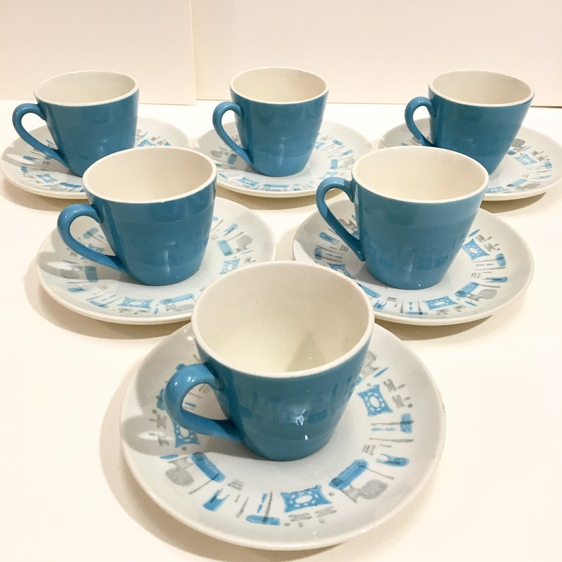 Royal China Blue Heaven teacups with saucers set of 6 image 0