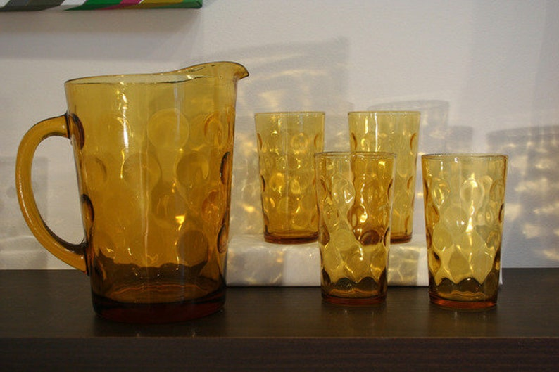 Amber Coin Glass Pitcher with Set of 4 Matching image 0