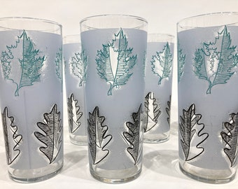 Libbey Turquoise and Black Leaf Patter Frosted Tall Glasses, set of 8