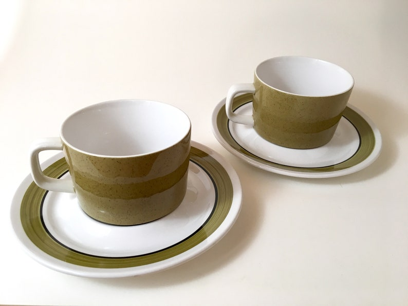 Mikasa Mediterrania Coffee Cups with Saucers in Avocado Green image 0