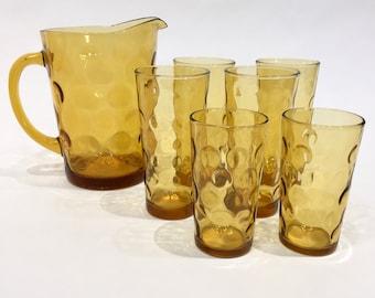 Amber/Honey Hazel Atlas Eldorado Pitcher with Set of 4 Tall Glasses and 2 Tumblers