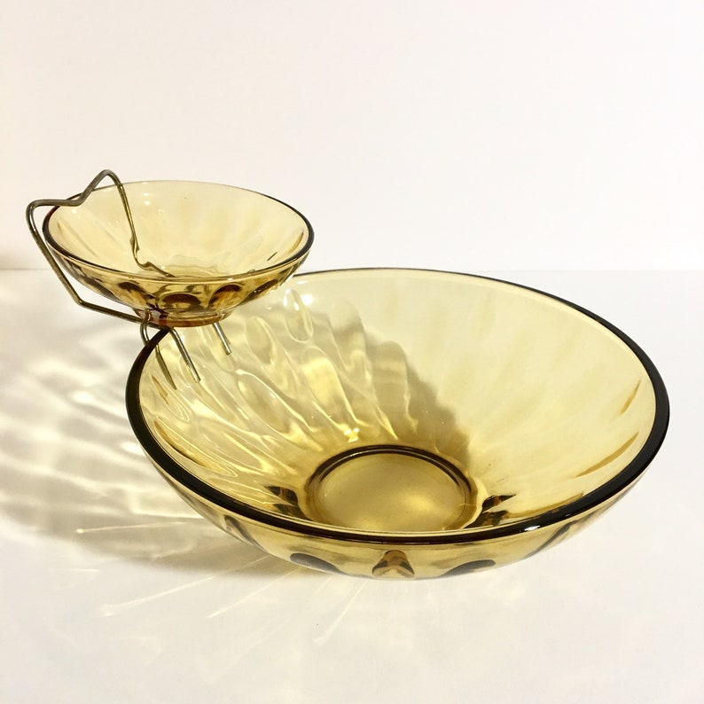 Amber Depression Glass Chip and Dip Set image 0
