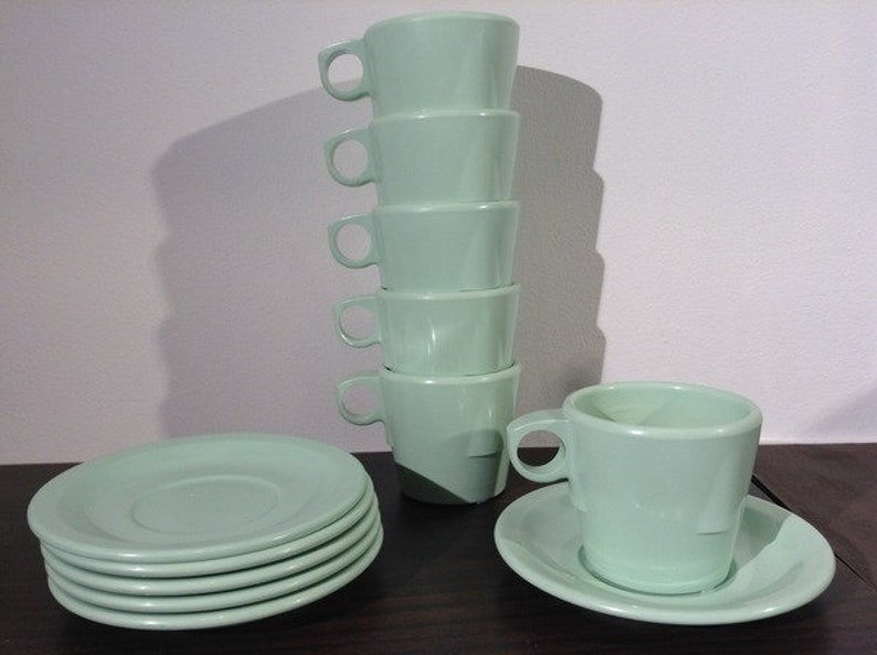 Dallas Ware Mint Green Plastic Coffee Cups with Saucers set image 0