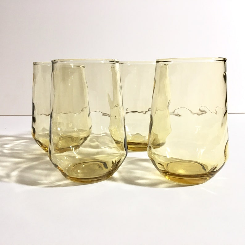Amber Juice Glasses with Thumbprint Pattern Set of 4 image 0
