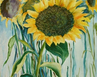 """Sunflowers Above the Bay, Original Watercolor, 9"""" x 12"""""""