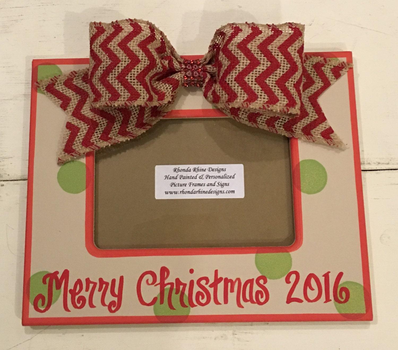 hand painted 5x7 christmas frame christmas gift christmas santa photo