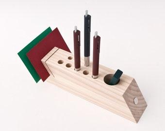 Desk Caddy, Wood Desk Organizer, Office Accessories, Wood Pen Pencil Holder FELICIA