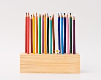 Pencil Holder Wood Desk Organizer Pen Holder DRAWING DAISY