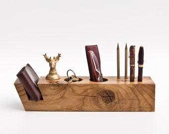 Unique Wood Desk Organizer / One of a Kind Gift / Office Desktop Storage 042