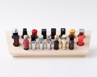 Lipstick Holder for Extra Large Lipsticks Lipstick Organizer for Countertop and Wall Mount Natural Wood Makeup Organizer 24 Spaces Big EMMA