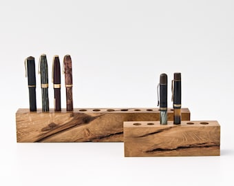 Wood Fountain Pen Holder for Nature Loving Users / One of a Kind Gifts 040-041