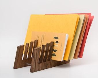 File Folder Organizer Rack / Wood Desk Organizer for Files / Letter Sorter Desktop / Office Folder Organizer / Magazine Holder FRIDA
