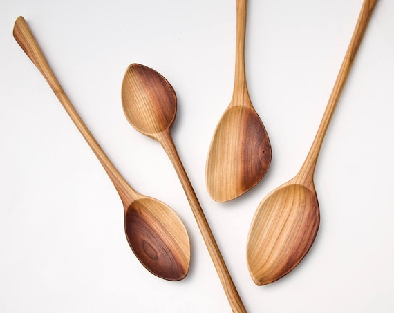 Wooden Spoons Hand Carved From Plum Wood Kitchen Utensils Large Spoon Ooak 133 136