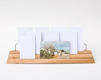 Wooden Note Card Bleacher / Index Card Holder / Business Card Display / Desktop Organizer MAXIE