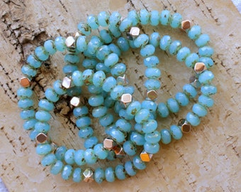 Beaded Stretch Bracelet with Turquoise Crystal Czech Glass and Gold Accent Beads