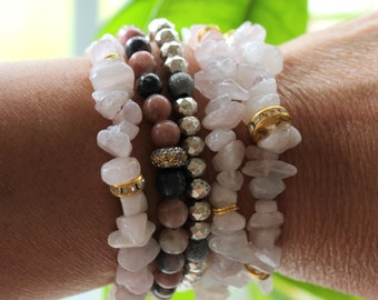 Beaded Stretch Bracelet with Rose Quart Chip Beads and gold and rhinestone accents