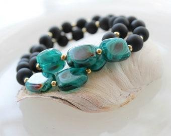 Beaded Stretch Bracelet with Black Matte Glass Beads and Aqua Swirl Beads