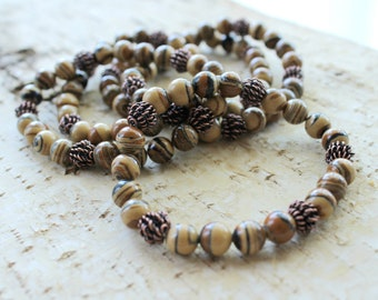 Beaded Stretch Bracelet with Brown Malachite and Brass Beads