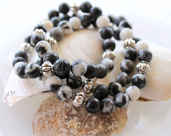 Beaded Stretch Bracelet with Zebra Stone and Silver Accent Beads