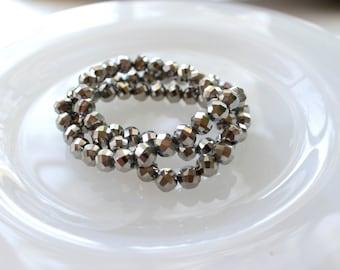 Beaded Stretch Bracelet with Silver Iris Glass Beads