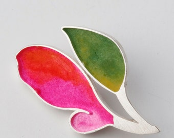 Sterling Silver Resin green pinks flower  Brooch