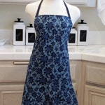 Full Apron with Flirty Skirt: Navy Blue and Gold Modern Swirls and Flowers