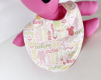 Girl Baby Words and Clothes reversible baby bib with Pink terry cloth