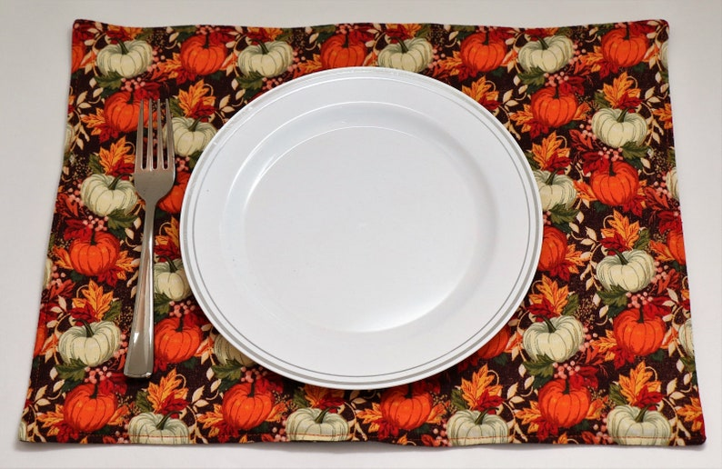 Pair of Reversible Placemats: Pumpkin Patch on Brown and  Gold image 0