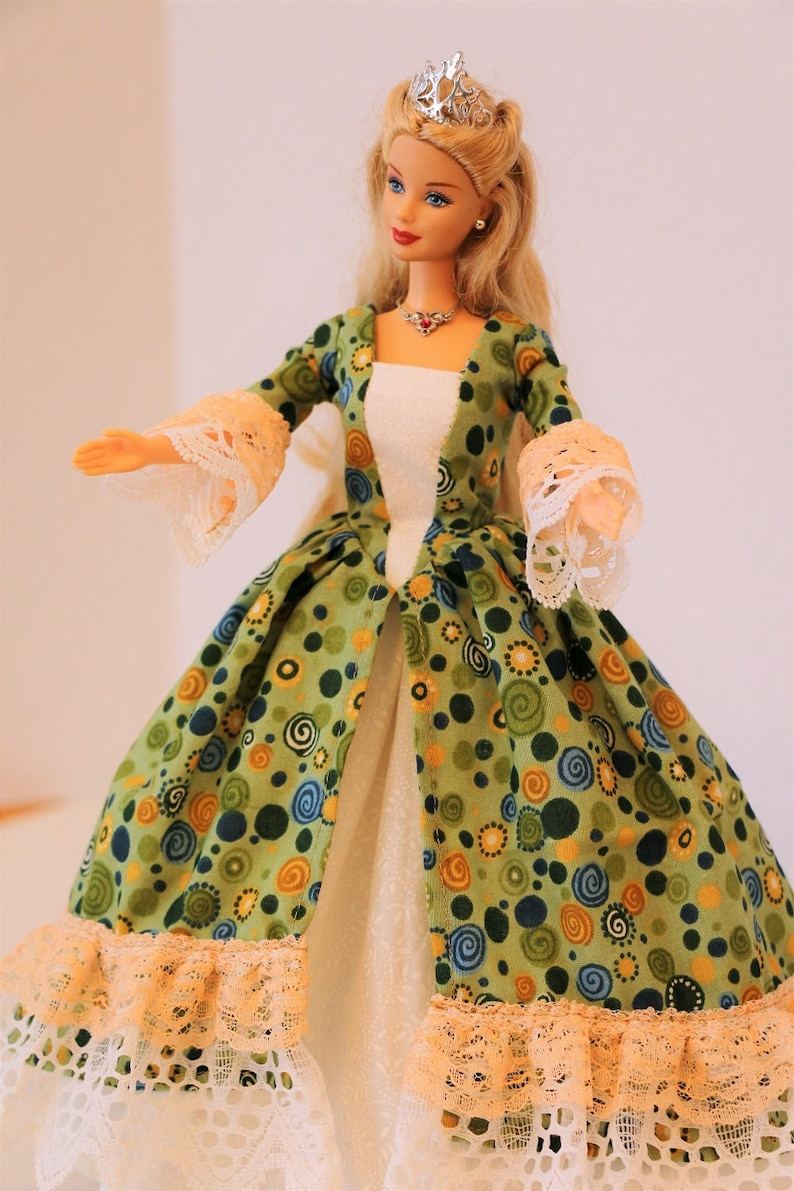 Historic Colonial Barbie dress: Green Blue and Gold Dots image 0