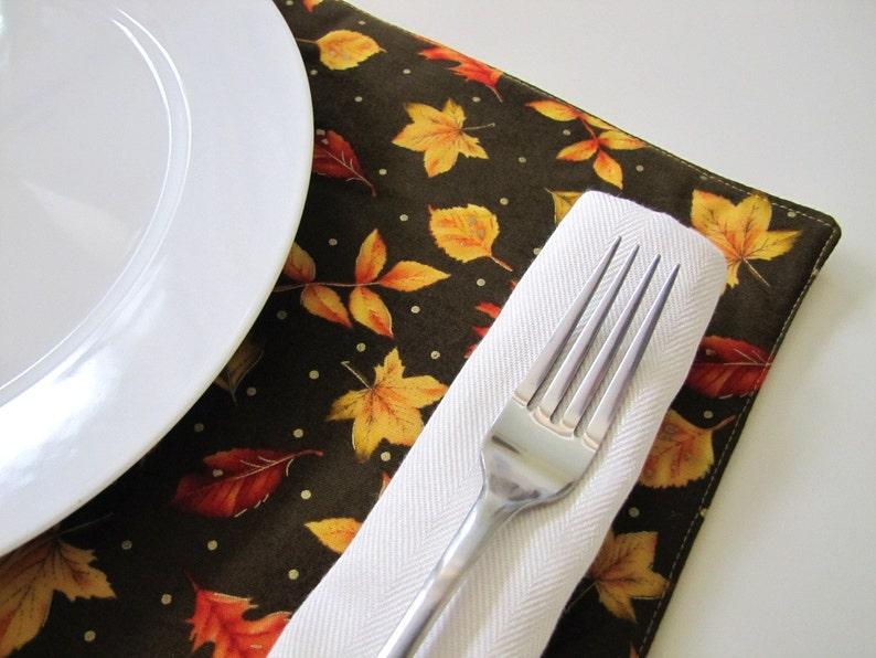 Pair of Reversible Placemats: Thanksgiving Falling Golden image 0