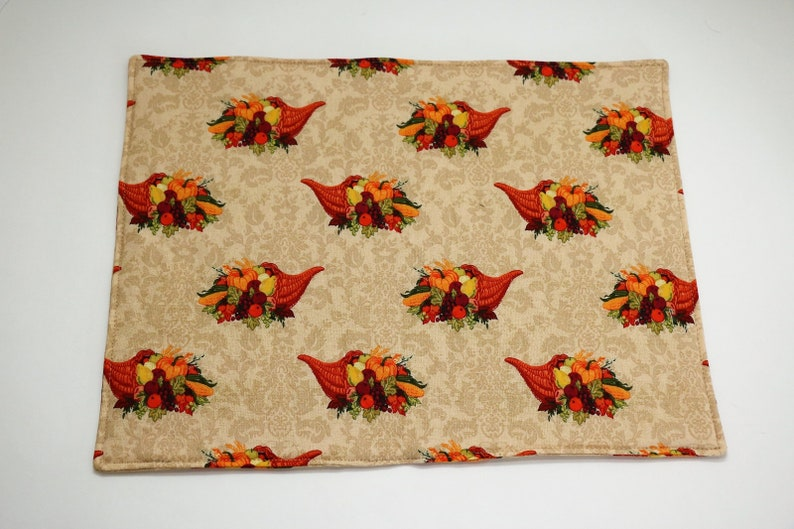 Pair of Placemats:  Cornucopias on Taupe image 0