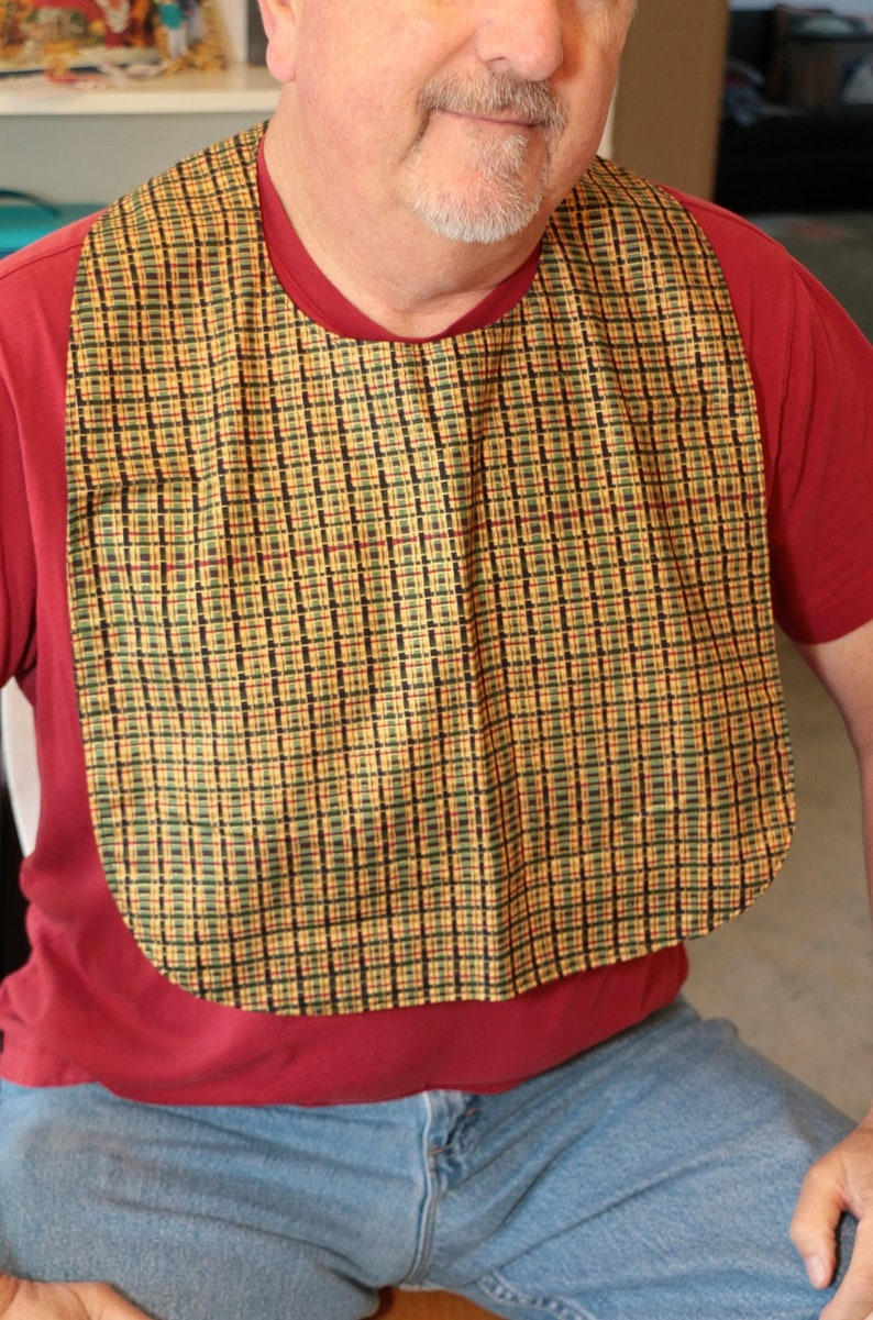 Adult Bib:  Gold Red Black and Green Plaid image 0