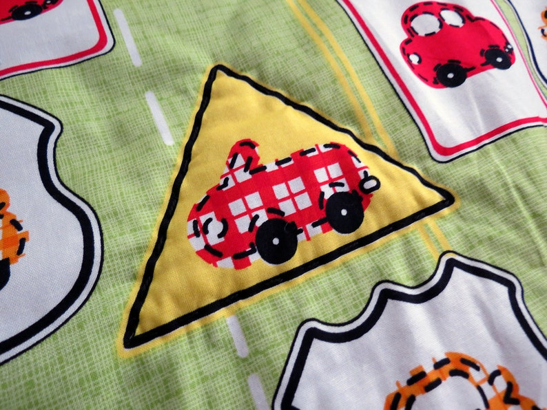 Kid Blanket: Cars and Traffic Signs on Lime Green image 0
