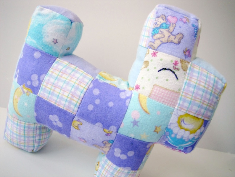 Baby Patchwork Scottie Dog: Baby Flannel in Purple Teal and image 0