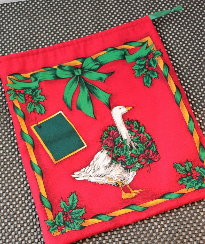 Small Christmas Gift Bag:  Goose with Holly Wreath image 0