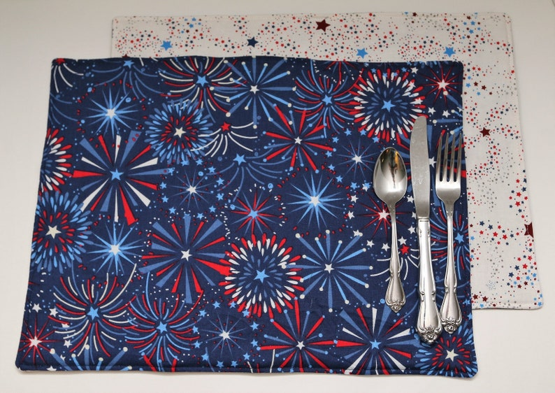 Pair of Reversible Placemats:  Fireworks on Navy Blue and image 0