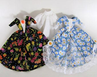 Barbie dress set: Blue Polka Dot Daisies and Black Floral