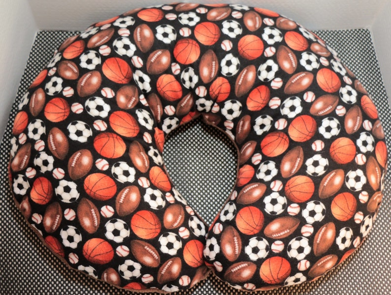 Reversible Boppy Nursing Pillow Cover:  Sports Balls on Black image 0