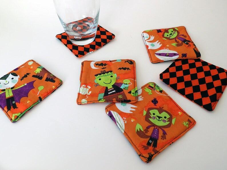 Pair of Reversible Fabric Coasters: Halloween Costumed Kids image 0