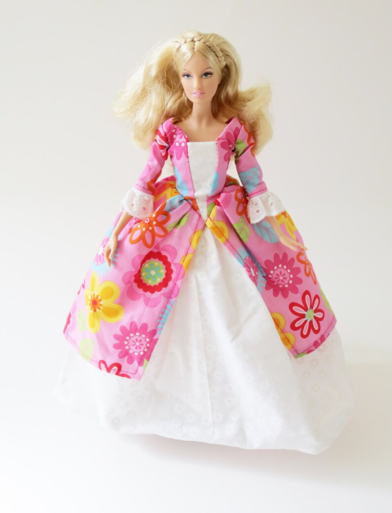 Historic Colonial Barbie dress: Colorful Flowers on Pink image 0