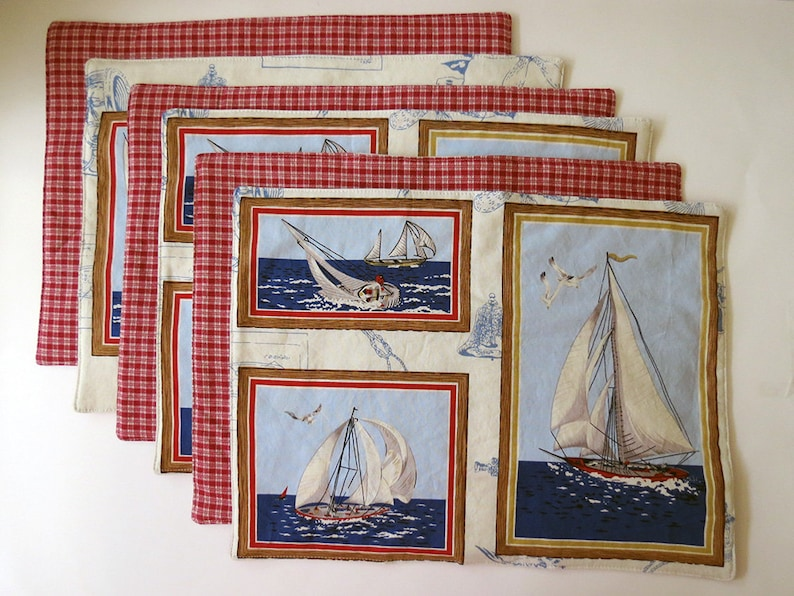 Pair of Reversible Placemats: Nautical Sailboat Frames with image 0