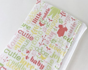Girl Baby Words and Clothes baby burp rags or burp cloths