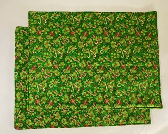 Pair of Placemats:  Candy Canes and Holly on Green