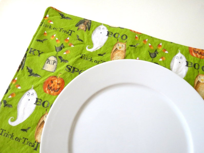 Pair of Reversible Placemats: Spooky Halloween Green with Grey image 0