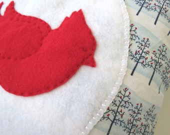 """16"""" Holiday Pillow Cover: Red Cardinal and Holiday Snow on Trees with Red Cardinals"""