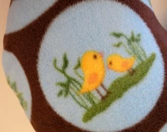 Nursing Pillow Cover: Farm Life Circles on Brown fleece