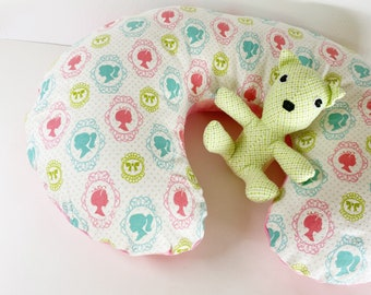 Nursing Pillow Cover:  Young Girl Silhouette Portraits OR the same but reversible with Mottled Pink flannel
