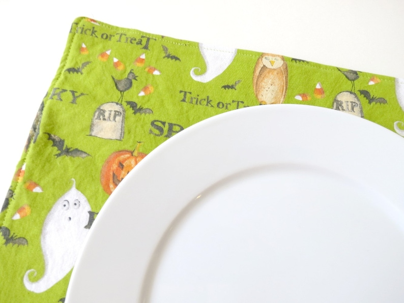 Pair of Reversible Placemats: Spooky Halloween Green with image 0