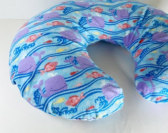 Nursing Pillow Cover:   Oceans of Fish flannel OR Reversible Oceans of Fish flannel with Yellow flannel