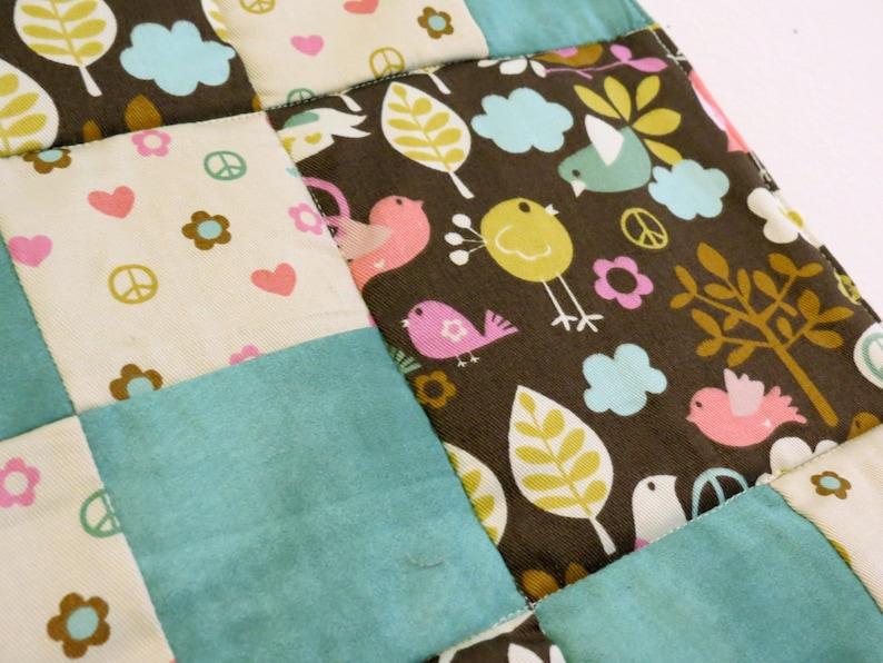 Tweet Tweet Love & Peace baby patchwork quilt image 0